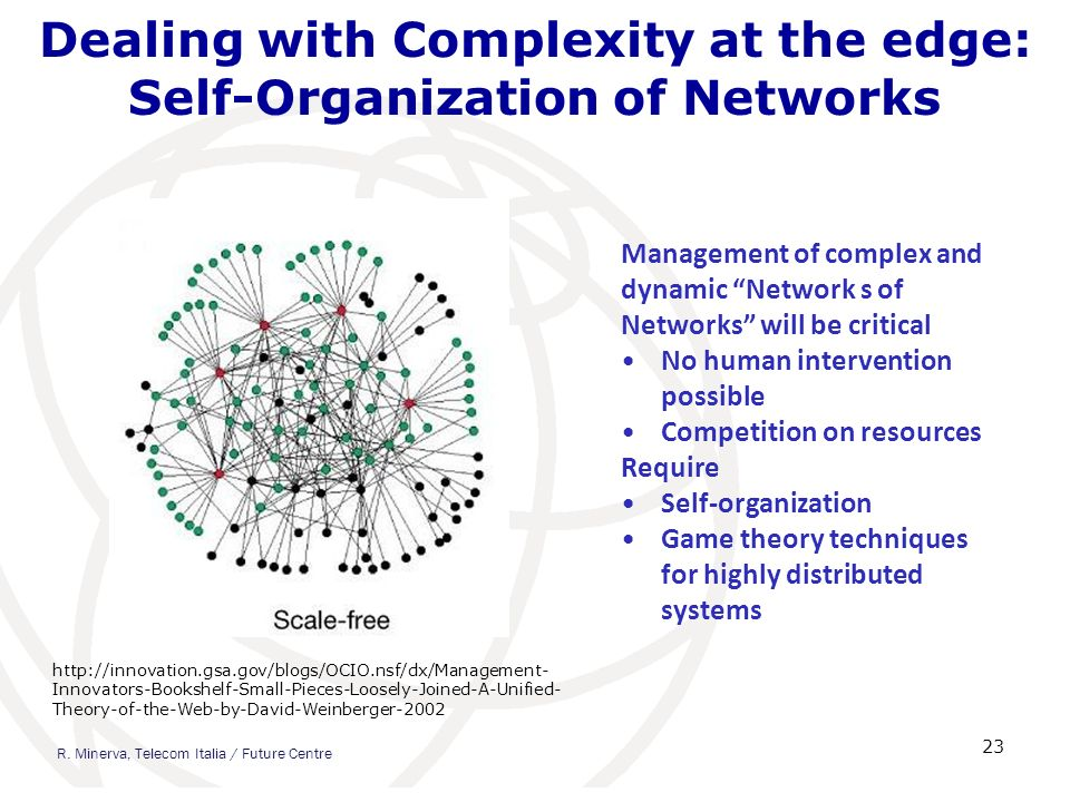 Dealing with Complexity at the edge: Self-Organization of Networks