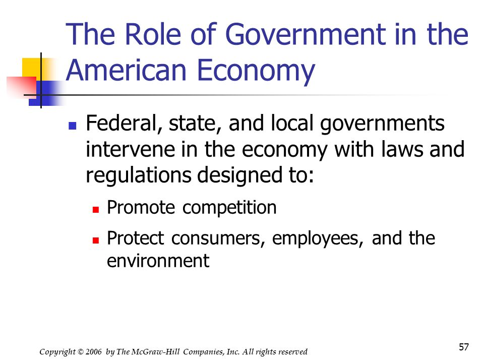 the role of government in economy Roles of government in a mixed economy government in the circular flow model supplies goods and services to business firms and households demands resources in resource markets taxes household income and business revenues transfers income to households 7 roles of government in a mixed.