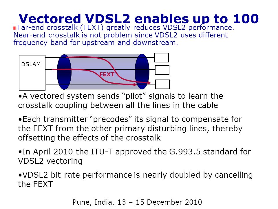 Vectored VDSL2 enables up to 100 Mb/s