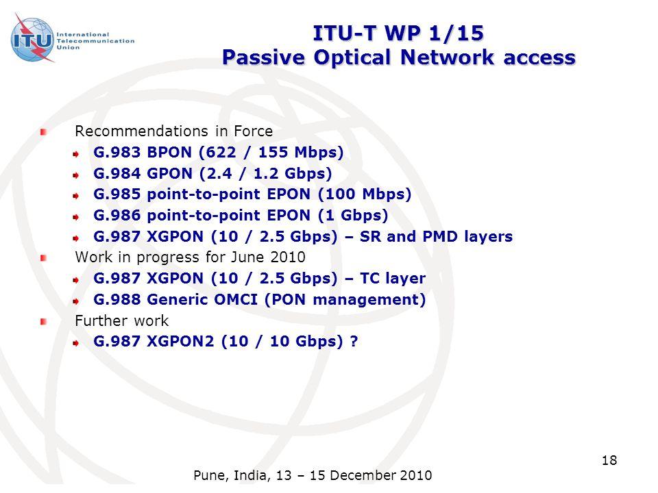 ITU-T WP 1/15 Passive Optical Network access