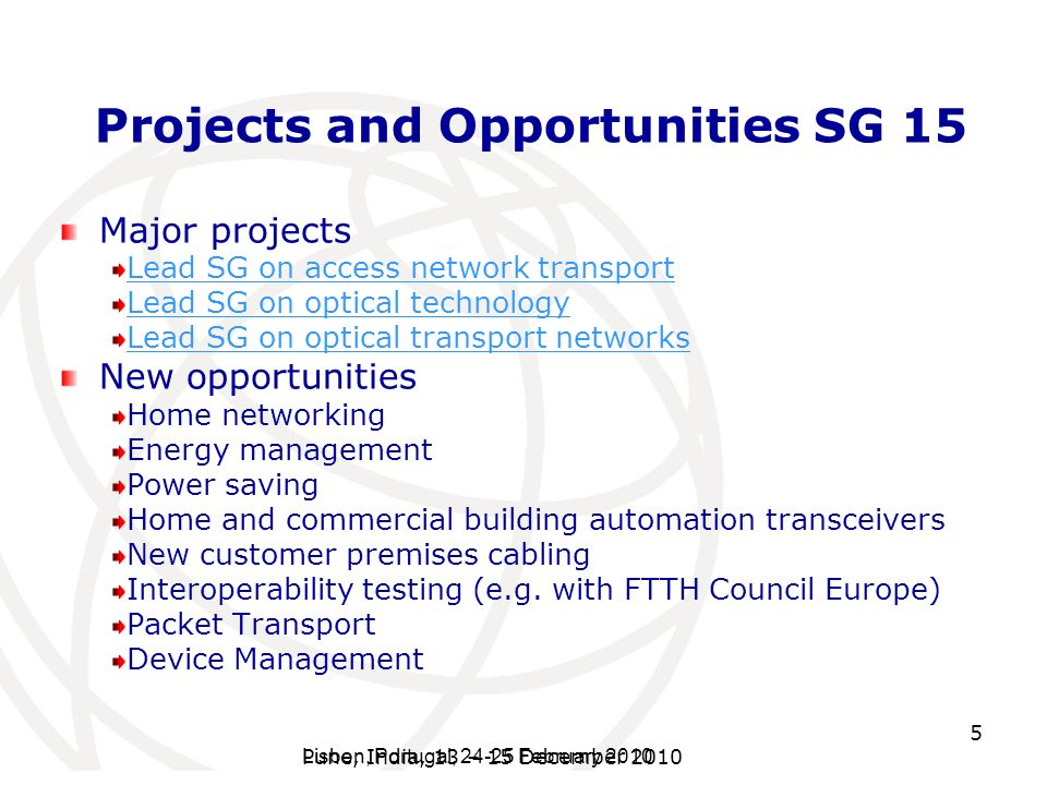 Projects and Opportunities SG 15