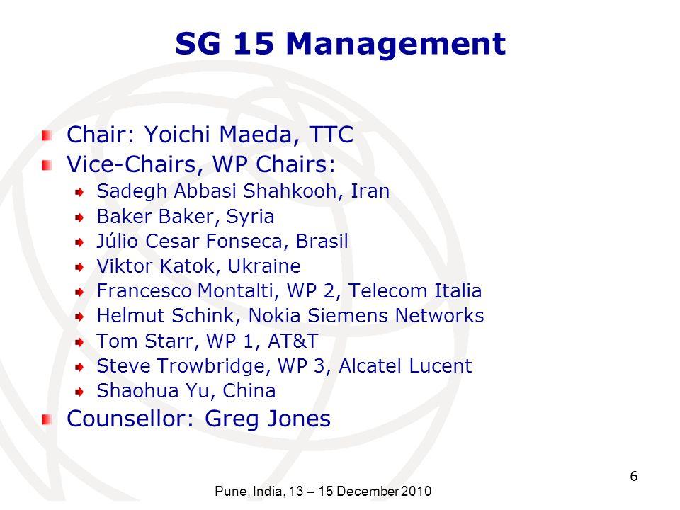 SG 15 Management Chair: Yoichi Maeda, TTC Vice-Chairs, WP Chairs: