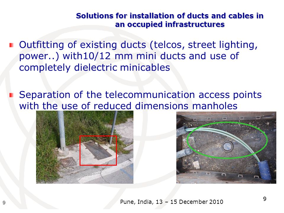 Solutions for installation of ducts and cables in an occupied infrastructures