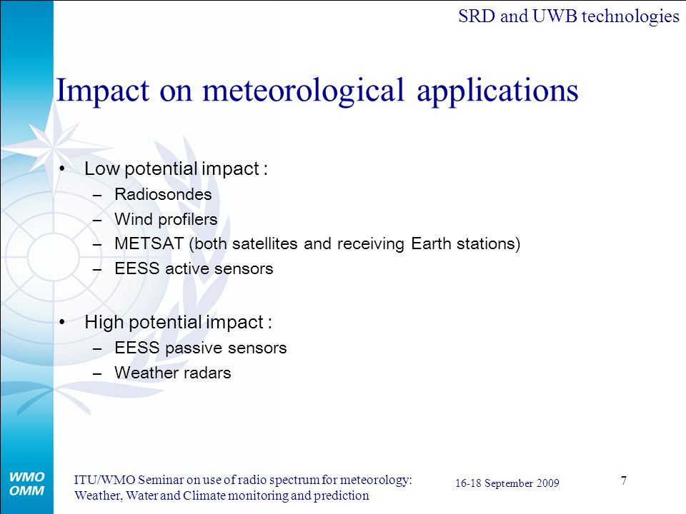 Impact on meteorological applications