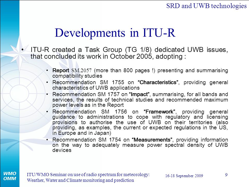 SRD and UWB technologies