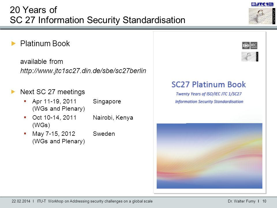 20 Years of SC 27 Information Security Standardisation