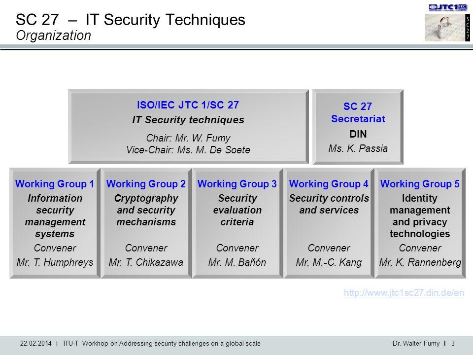 SC 27 – IT Security Techniques Organization