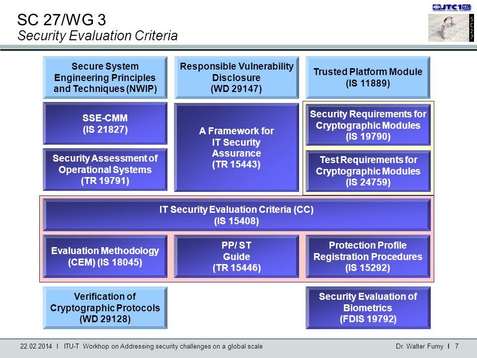 SC 27/WG 3 Security Evaluation Criteria