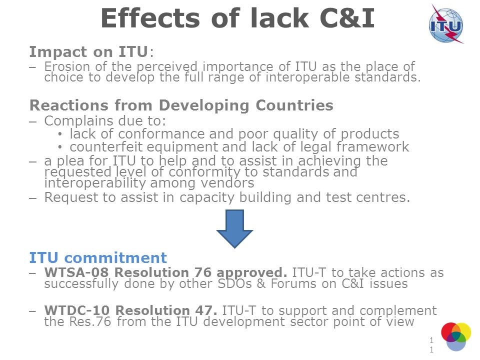Effects of lack C&I Impact on ITU: Reactions from Developing Countries