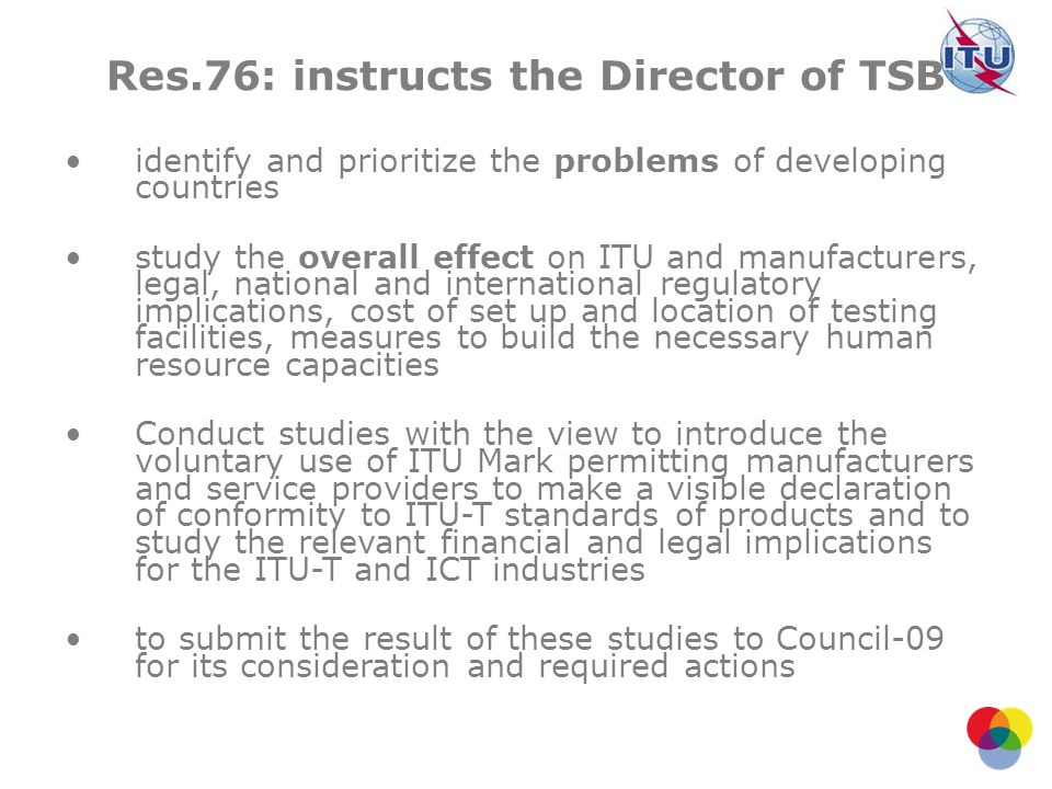 Res.76: instructs the Director of TSB