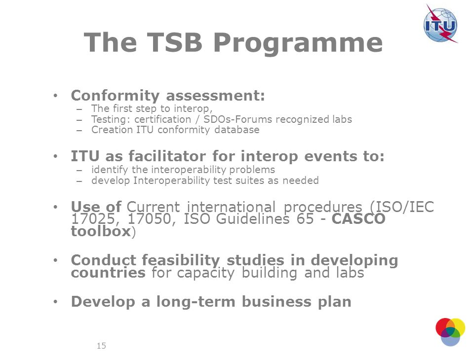 The TSB Programme Conformity assessment: