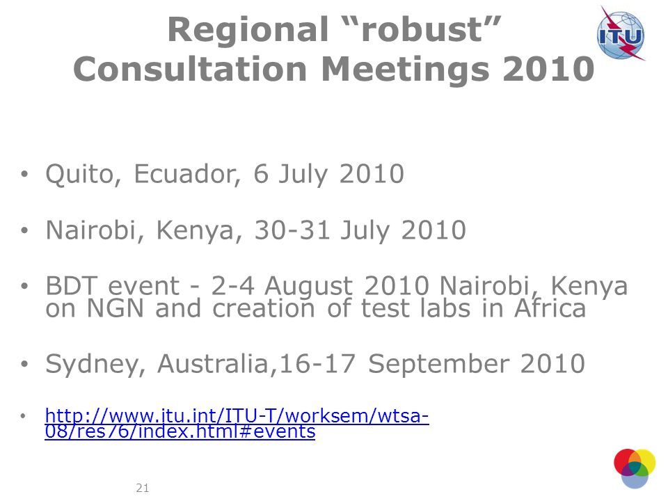 Regional robust Consultation Meetings 2010