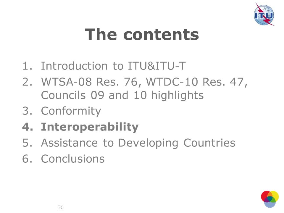 The contents Introduction to ITU&ITU-T