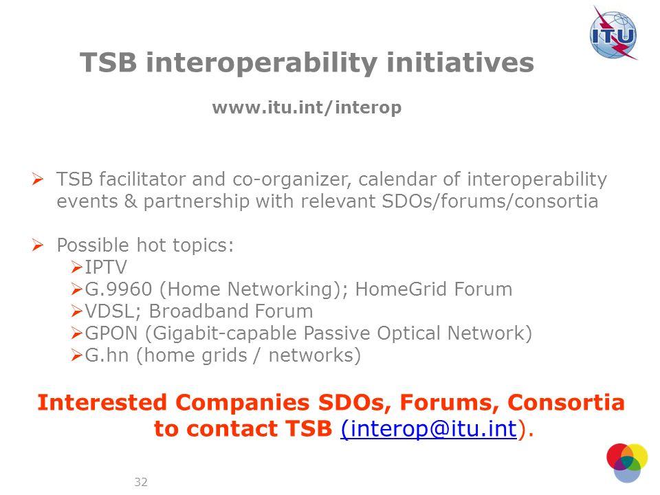 TSB interoperability initiatives www.itu.int/interop