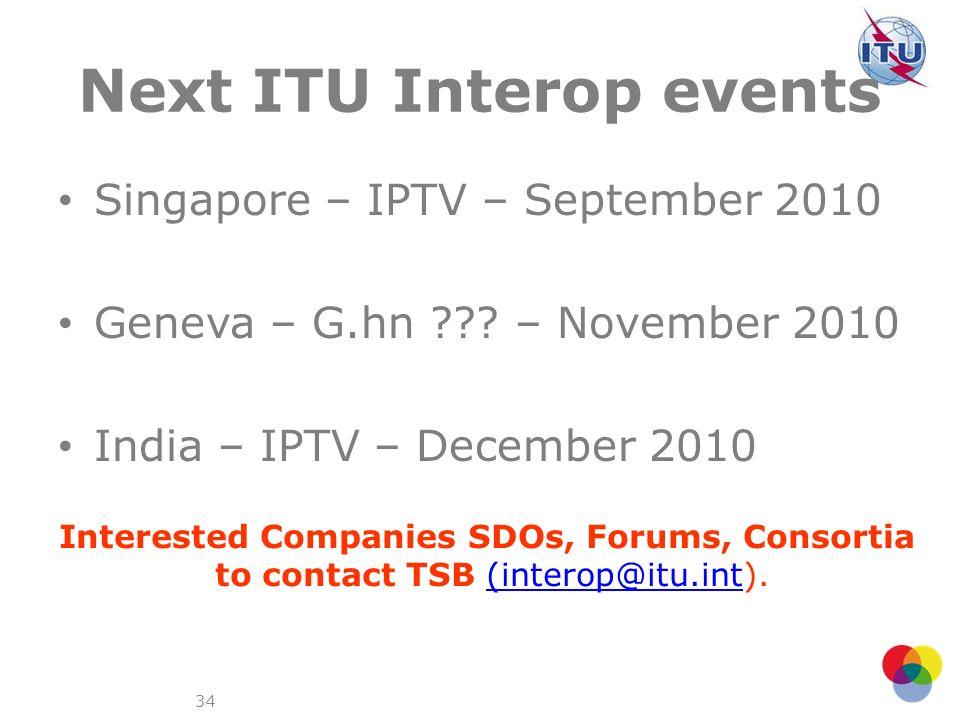 Next ITU Interop events