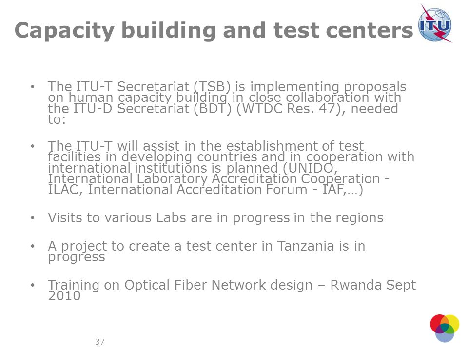 Capacity building and test centers