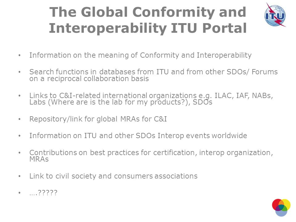 The Global Conformity and Interoperability ITU Portal