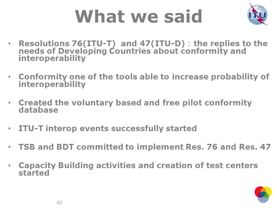What we said Resolutions 76(ITU-T) and 47(ITU-D) : the replies to the needs of Developing Countries about conformity and interoperability.