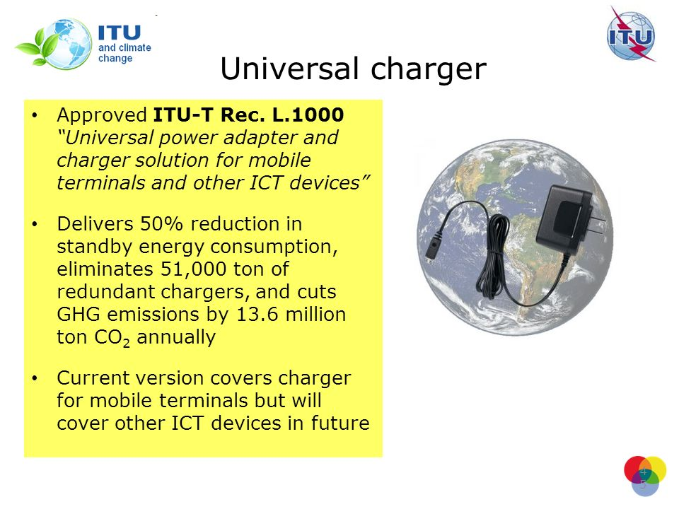 Universal charger Approved ITU-T Rec. L.1000 Universal power adapter and charger solution for mobile terminals and other ICT devices