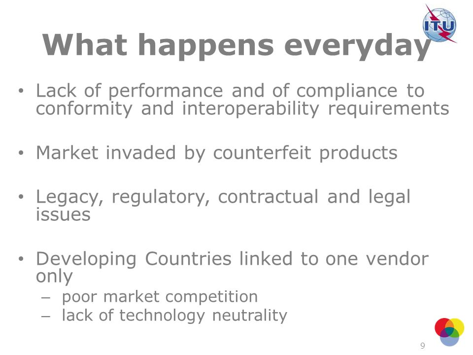 What happens everyday Lack of performance and of compliance to conformity and interoperability requirements.