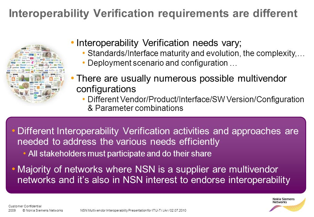 Interoperability Verification requirements are different