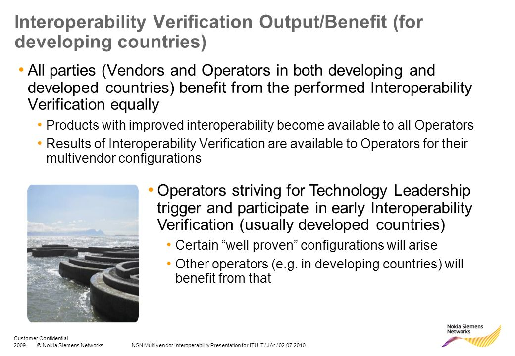 Interoperability Verification Output/Benefit (for developing countries)