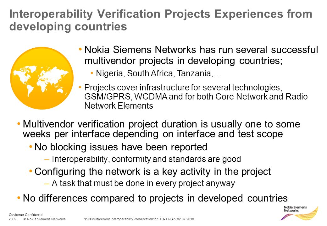 Interoperability Verification Projects Experiences from developing countries