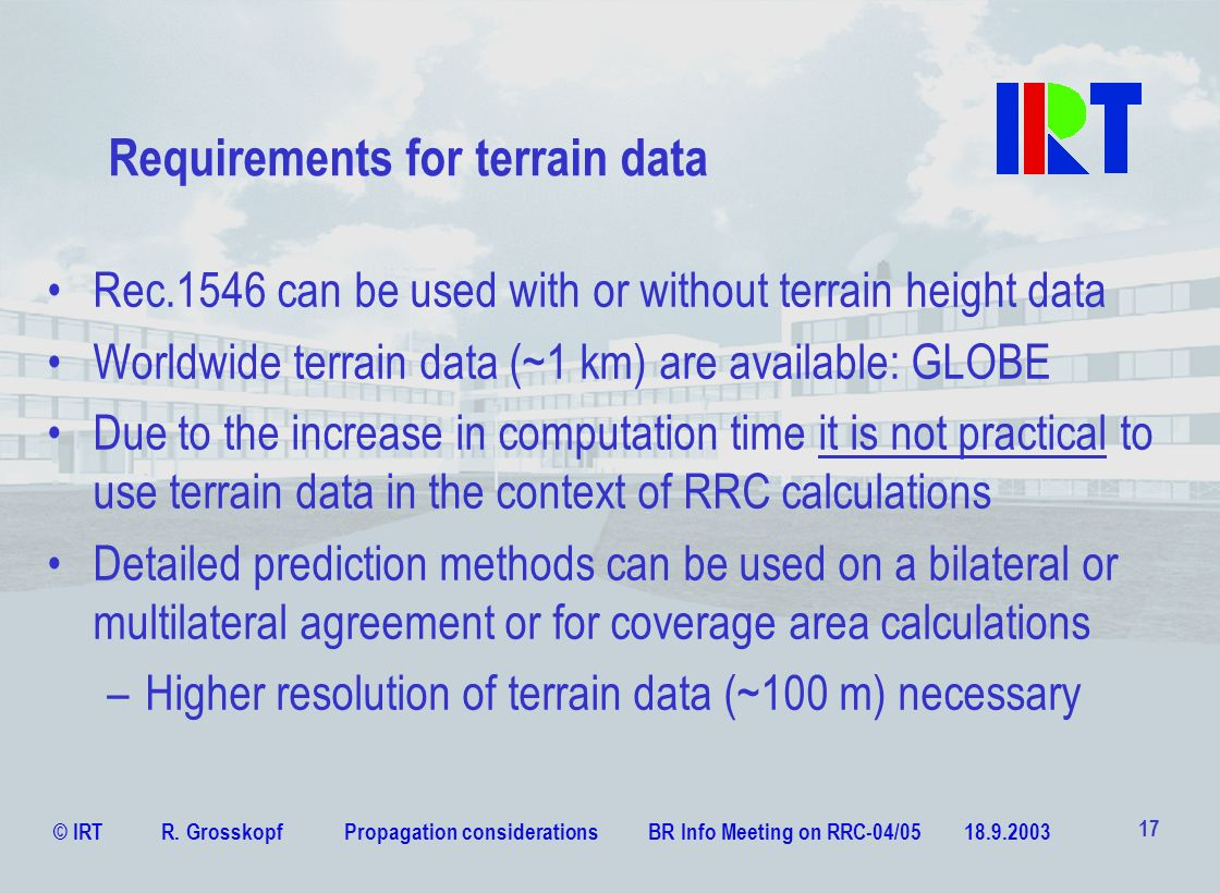 Requirements for terrain data