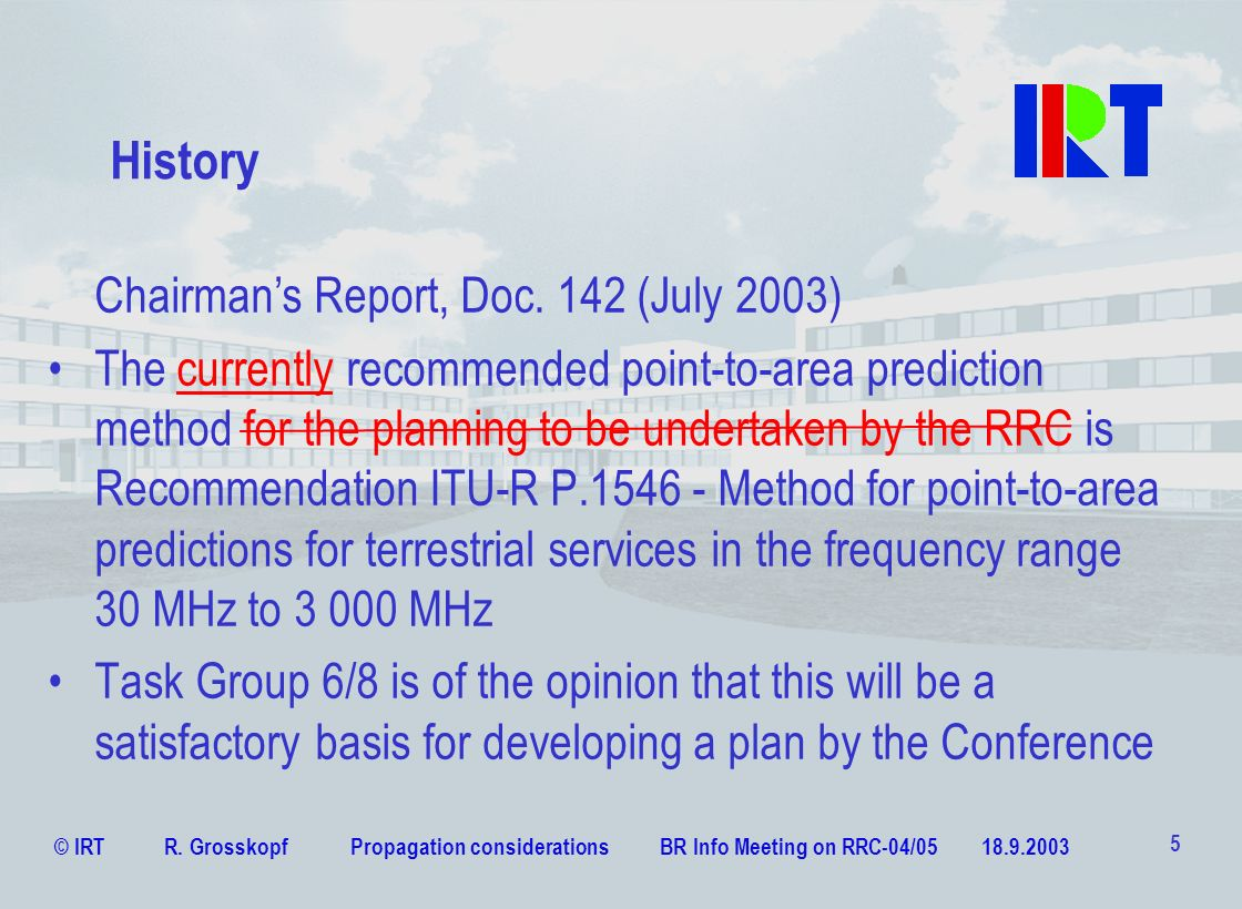 History Chairman's Report, Doc. 142 (July 2003)