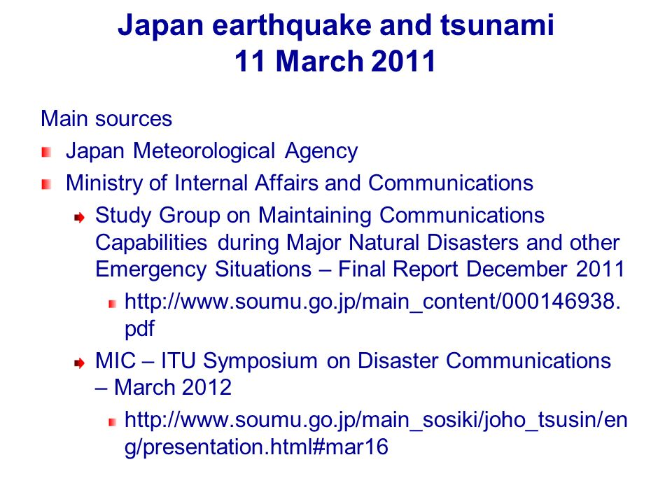 Japan earthquake and tsunami 11 March 2011