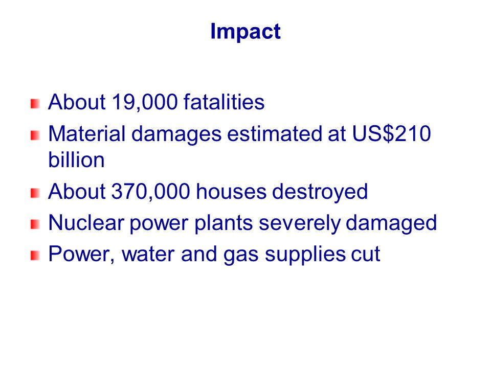 Impact About 19,000 fatalities. Material damages estimated at US$210 billion. About 370,000 houses destroyed.