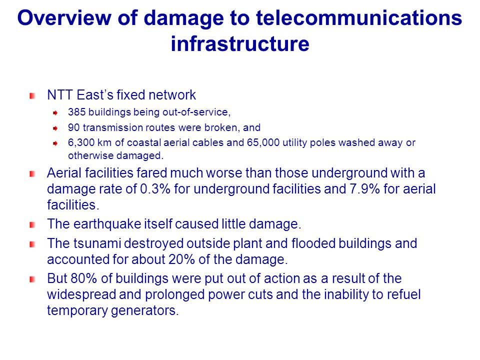 Overview of damage to telecommunications infrastructure