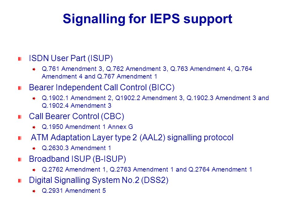Signalling for IEPS support