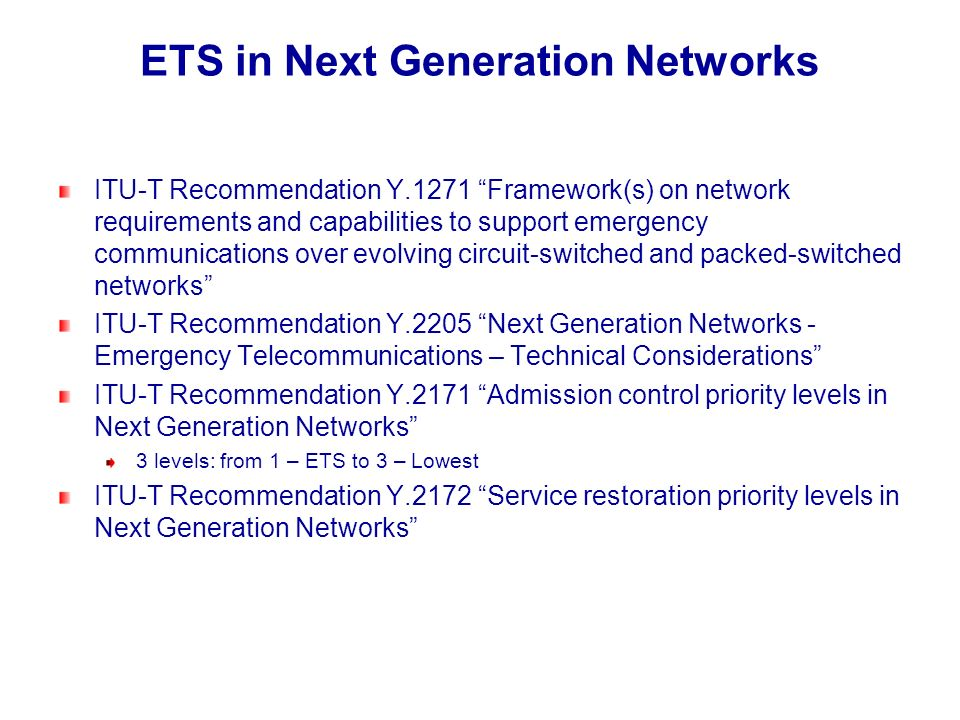 ETS in Next Generation Networks