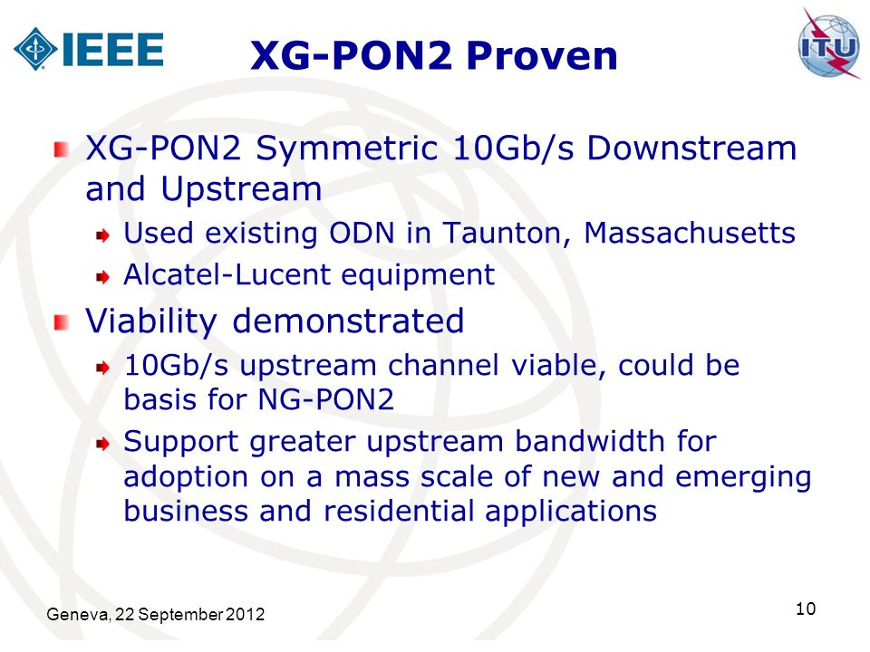 XG-PON2 Proven XG-PON2 Symmetric 10Gb/s Downstream and Upstream