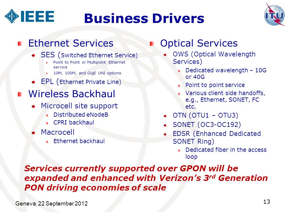 Business Drivers Ethernet Services Wireless Backhaul Optical Services