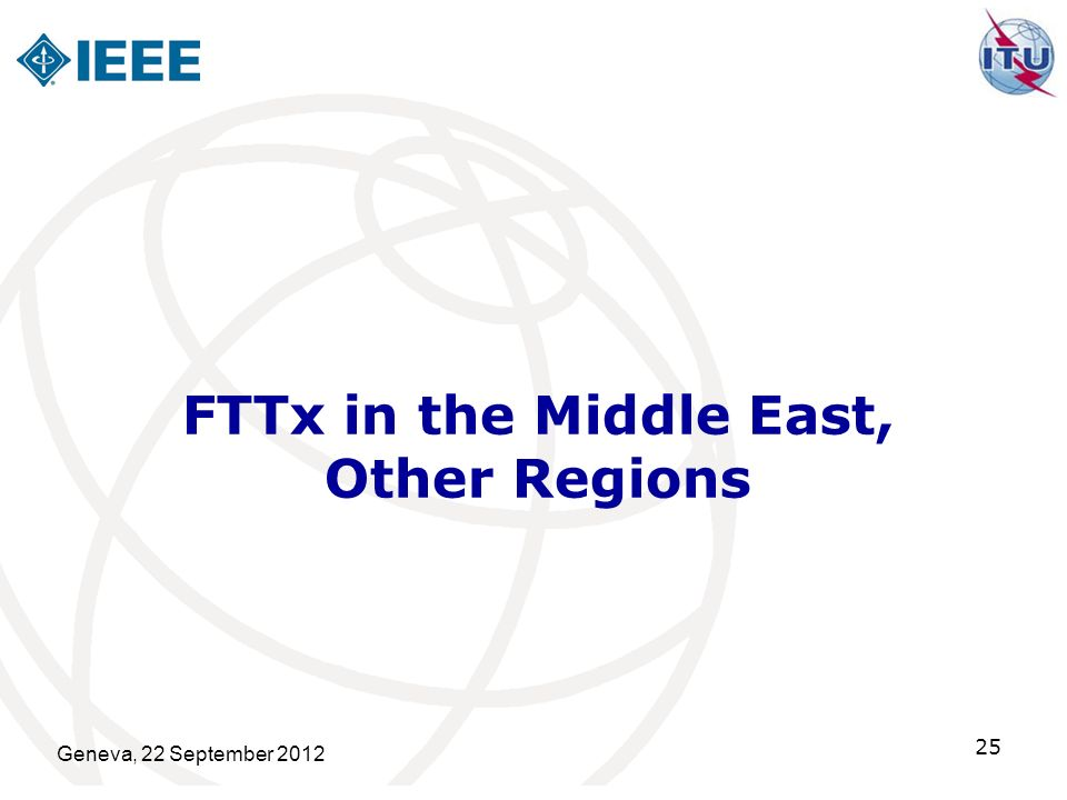 FTTx in the Middle East, Other Regions