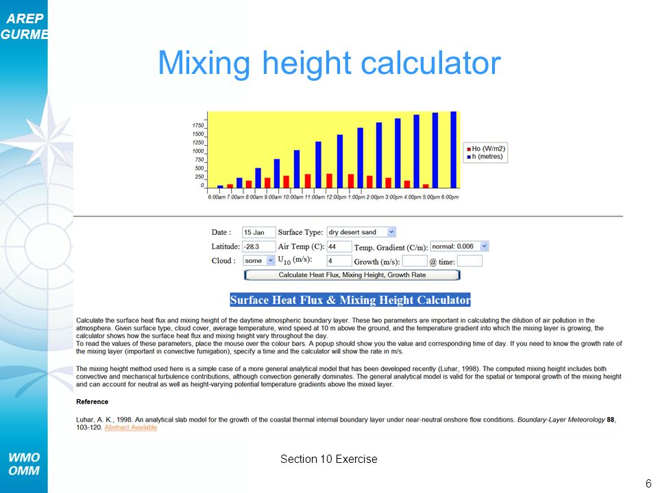 Mixing height calculator