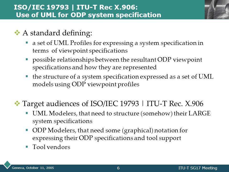 Target audiences of ISO/IEC 19793 | ITU-T Rec. X.906