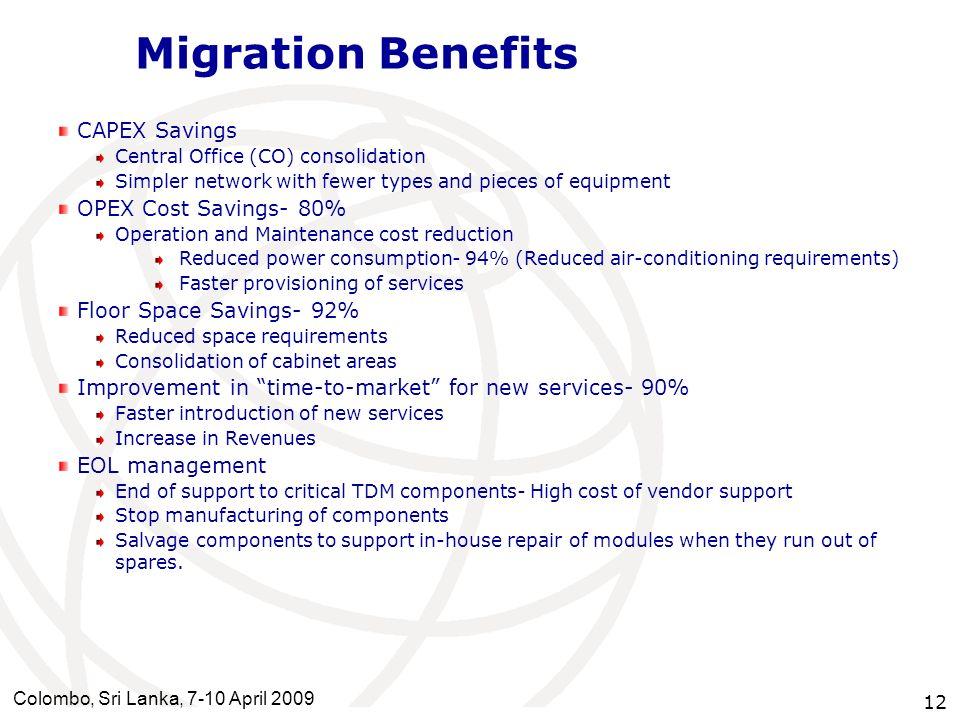 Migration Benefits CAPEX Savings OPEX Cost Savings- 80%