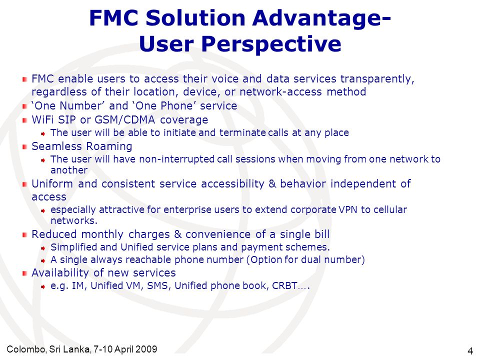 FMC Solution Advantage- User Perspective