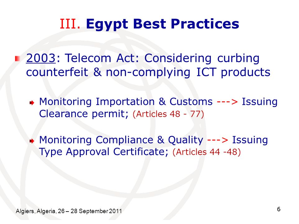 III. Egypt Best Practices