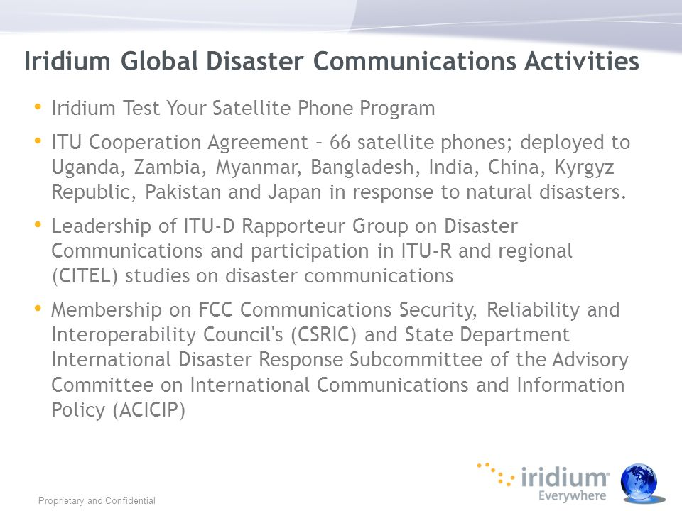Iridium Global Disaster Communications Activities