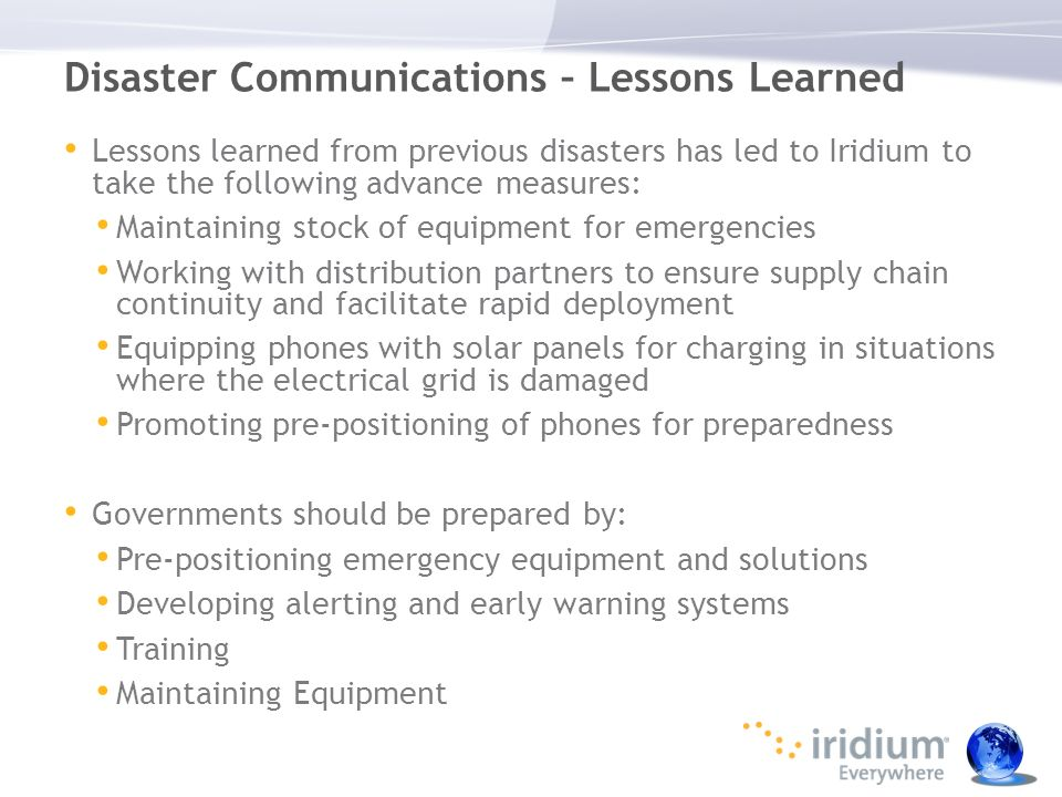 Disaster Communications – Lessons Learned