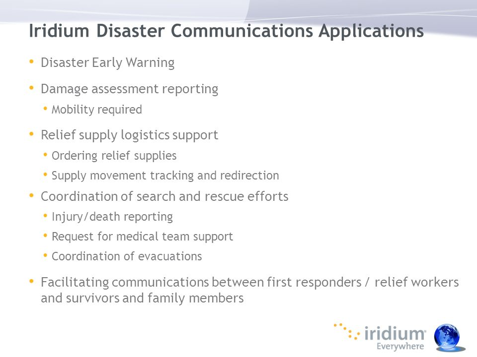 Iridium Disaster Communications Applications
