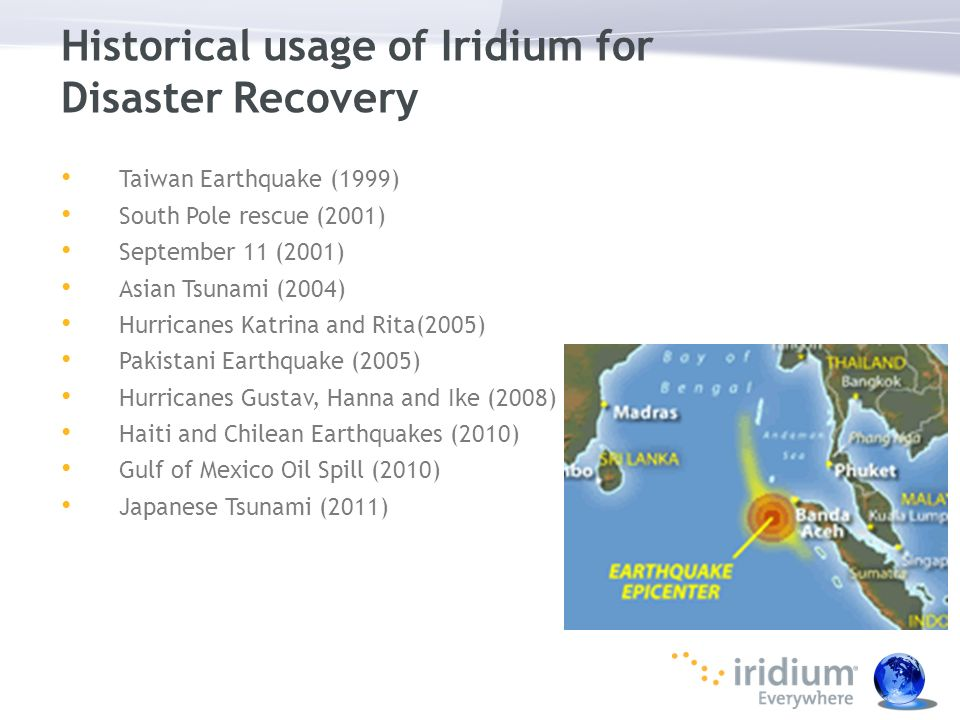Historical usage of Iridium for Disaster Recovery
