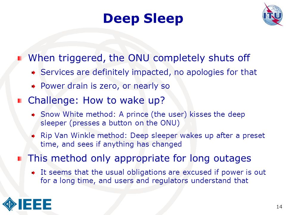 Deep Sleep When triggered, the ONU completely shuts off