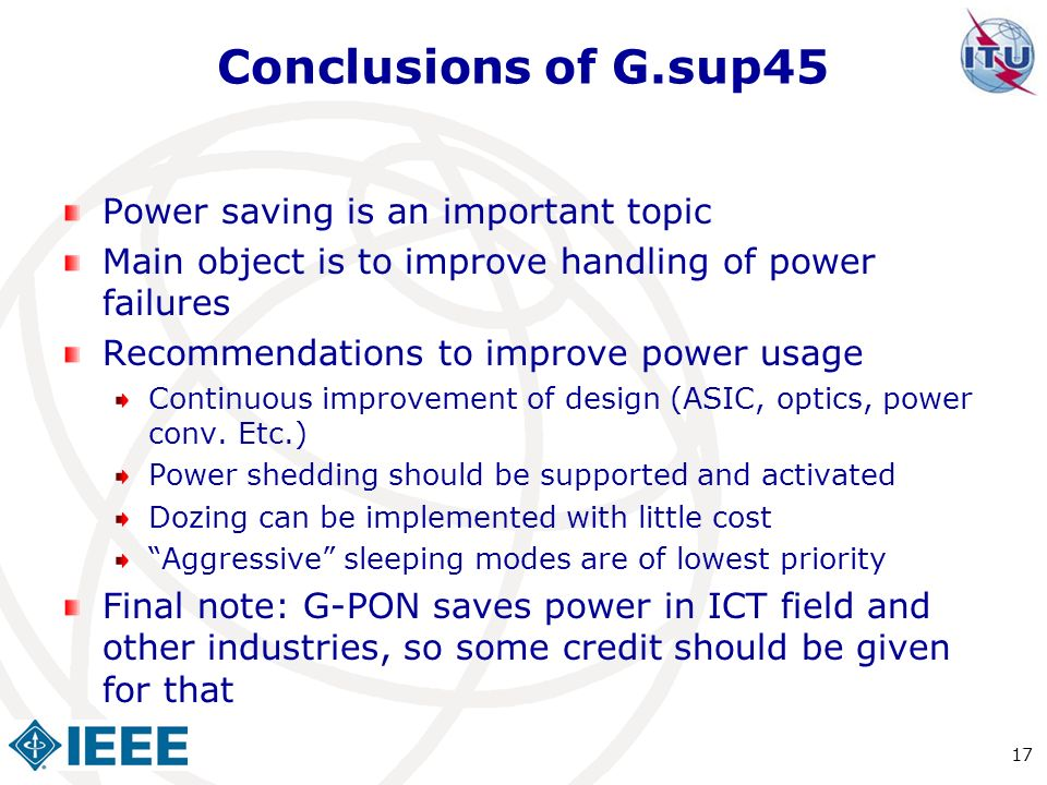 Conclusions of G.sup45 Power saving is an important topic