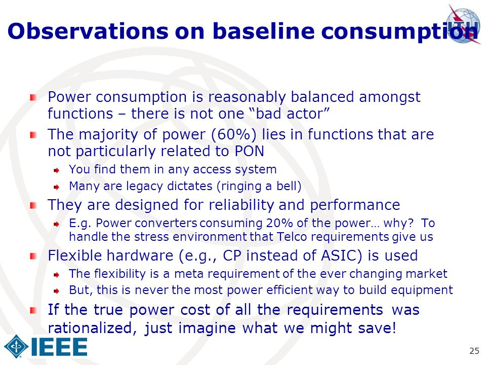 Observations on baseline consumption