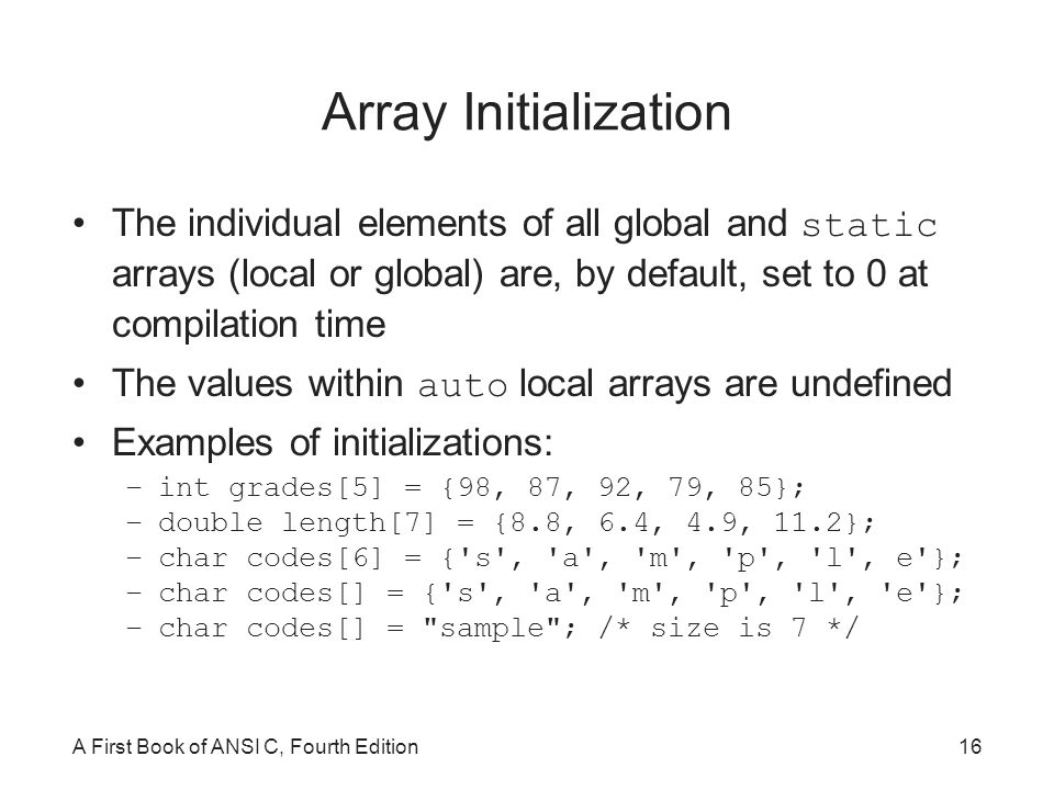 how to set vales to double arry in c